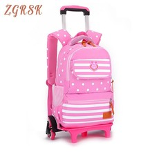 Trolley Schoolbag Luggage Book Bag Latest Removable Children School Backpack Bags 2/6 Wheels Stairs Kids Boys Girls Backpacks kids boys girls trolley schoolbag luggage book bags backpack latest removable children school bags with 2 wheels stairs