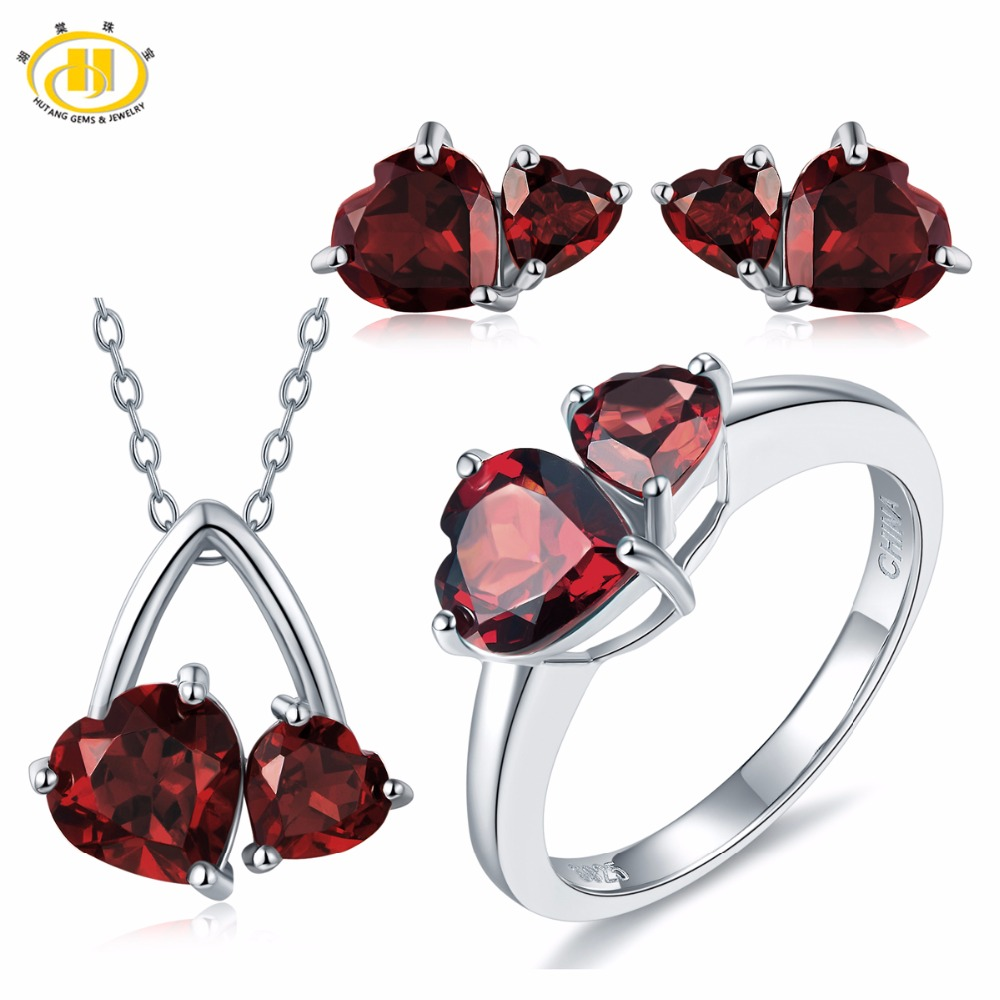 Hutang Bridal Jewelry Sets Solid 925 Sterling Silver 6.1ct Natural Gemstone Garnet Heart Pendant Earrings Ring Fine Fashion Gift