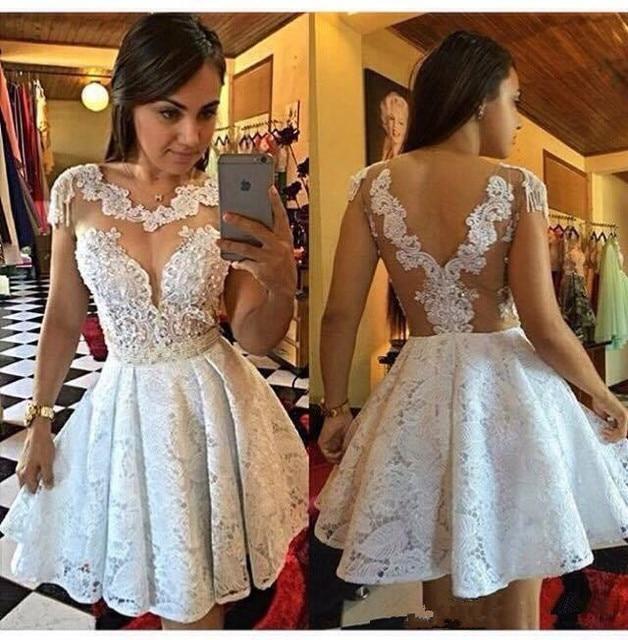 White Lace Graduation Dress