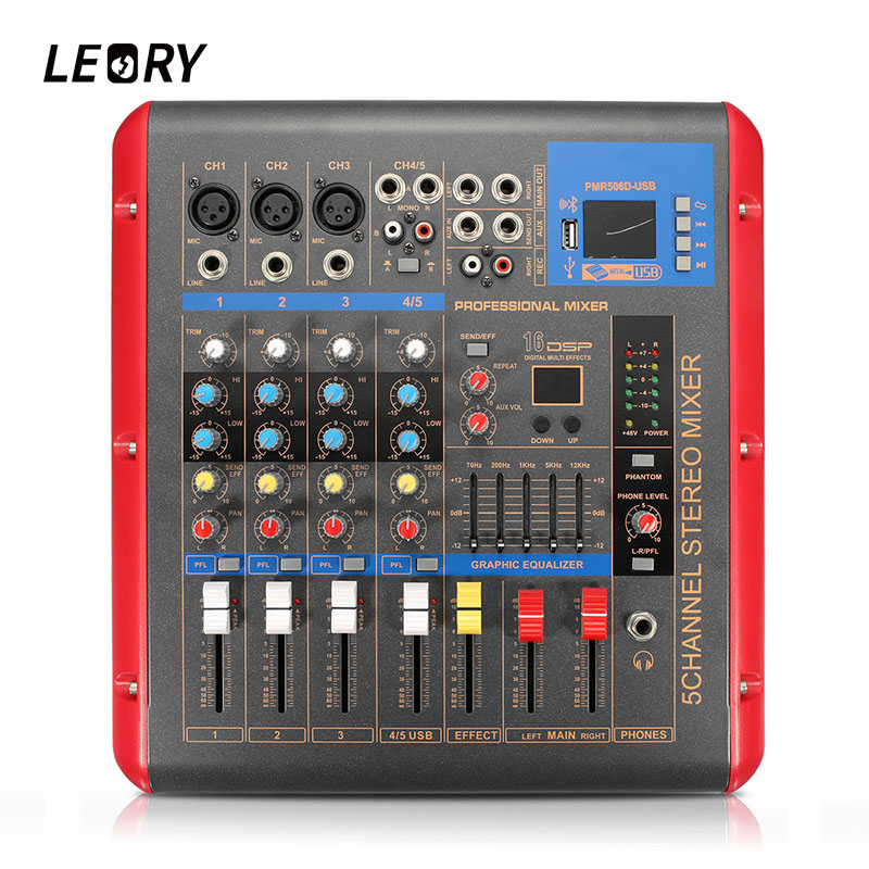 LEORY Audio Mixer Amplifier Professional Bluetooth 4 Channel Karaoke Stage Microphone Sound Mixing Console With USB 48V Phantom leory professional bluetooth 4 channel karaoke amplifier microphone audio sound mixing mixer console with usb 48v phantom power