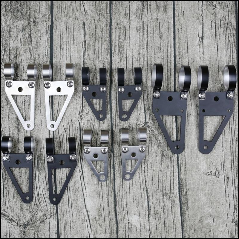 27-32mm Universal Motorcycle Headlight Mount Bracket Fork Ears Black Chrome