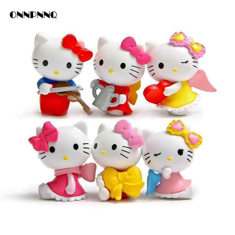 6pcs Kawaii Hellokitty Cat Mini Garden Miniatures For Terrariums Doll Ornaments Kids Gift Figurine Miniature Garden Decorations