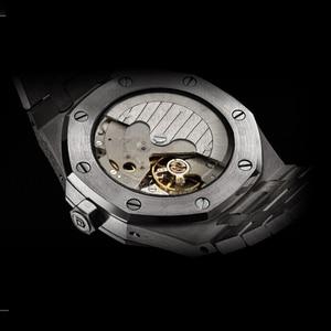 Image 2 - ساعة أوتوماتيكية للرجال ساعة ميكانيكية فاخرة ماركة فاخرة ذكر القمر المرحلة الغوص التقويم ساعة اليد مقاوم للماء