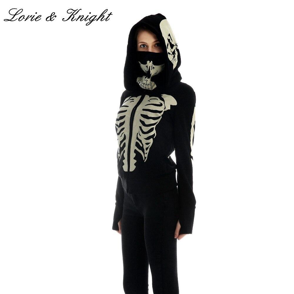 Women s Black Hooded Zipper Sweatshirt Skeleton Skull Mask Gothic Hoodie