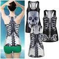 Fresco Popular 3D Mujeres Sexy vintage Impreso Skeleton Skull Tank Tops Punky Gótico Clubwear Punk hizo punto La Camiseta Al Por Mayor Caliente