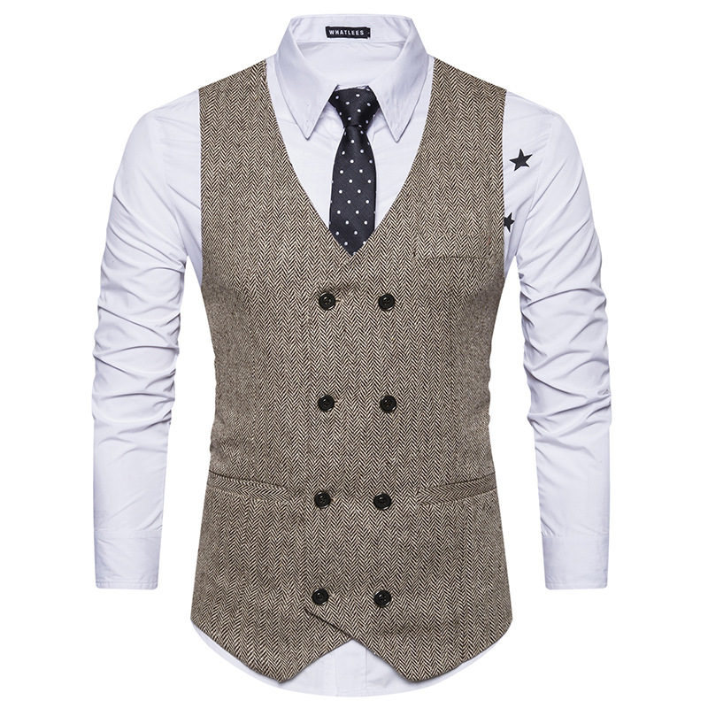High Grade Men Suit Vest 2019 Brand Fashion Double Breasted Waistcoat Casual Slim Tweed Gilet Plus Size Men Clothes
