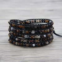 BOHO beads leather wrap bracelet Coffee onyx bead bracelet 4mm beads Charm bracelet Friendship Gift Jewelry Brown Beads