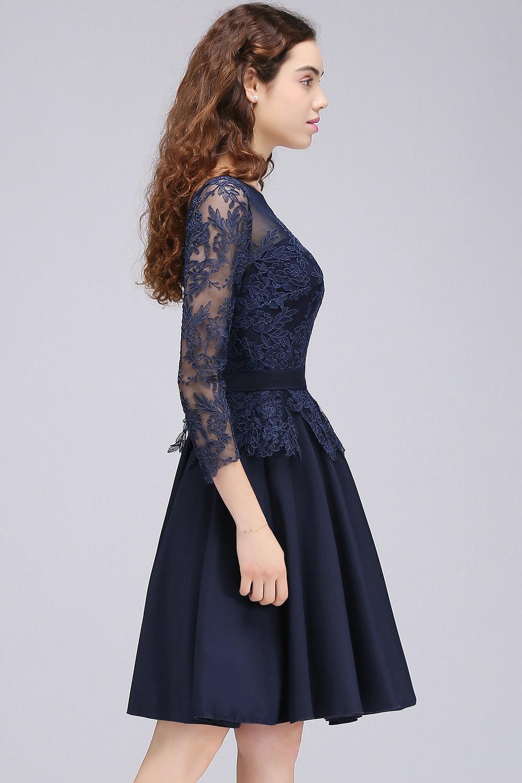 b4c4b92b04f8d0 € 36.06 37% de réduction|Sexy dos ouvert bleu marine dentelle courte robe  de soirée en mousseline de soie trois quarts manches robes de soirée ...
