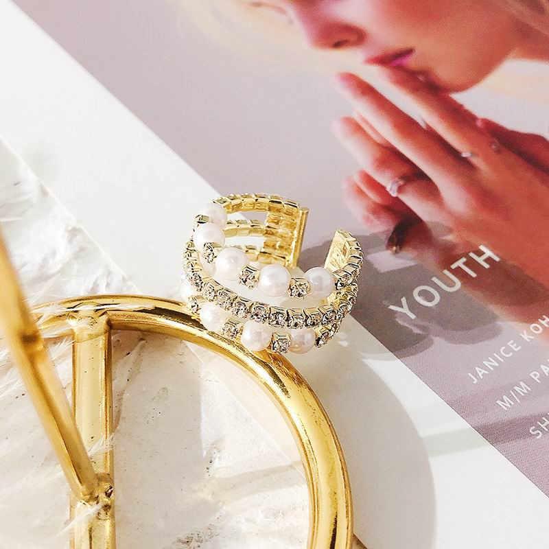 Mengjiqiao 2019 coreano novo multicamadas strass simulado pérola anéis abertos para as mãos das mulheres jóias anel de casamento ajustável presente