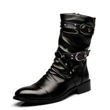 Mode Hommes Demi-jambe bottes en cuir Véritable Mâle Rivet Bottes Printemps Automne Cheville bottes chaussure homme 022