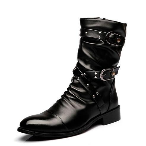 Los Hombres de moda Medio-pierna botas de cuero Masculinos Genuinos Botas Remache botines del Otoño del Resorte chaussure homme 022
