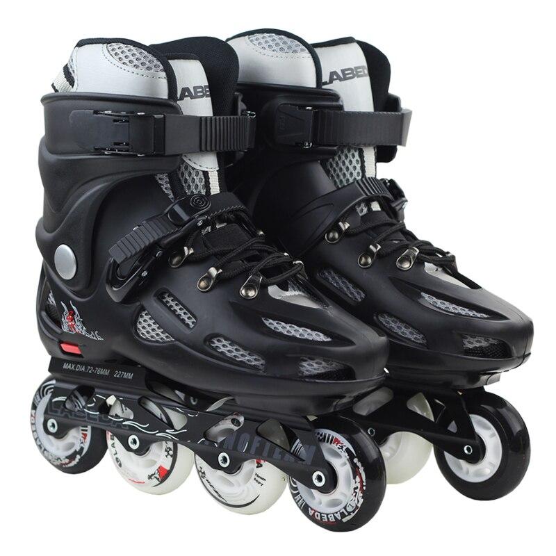 Prix pour Adultes Patins à roulettes de Hommes Femmes Noir/Blanc Inline Chaussures De Patinage Rouleau Patins L'UE Taille 36--43
