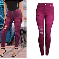 2017 Spring Fashion Women Clothing Pencil Pants Elastic Slim Wine Red Pants Hole Patchwork Female Pure