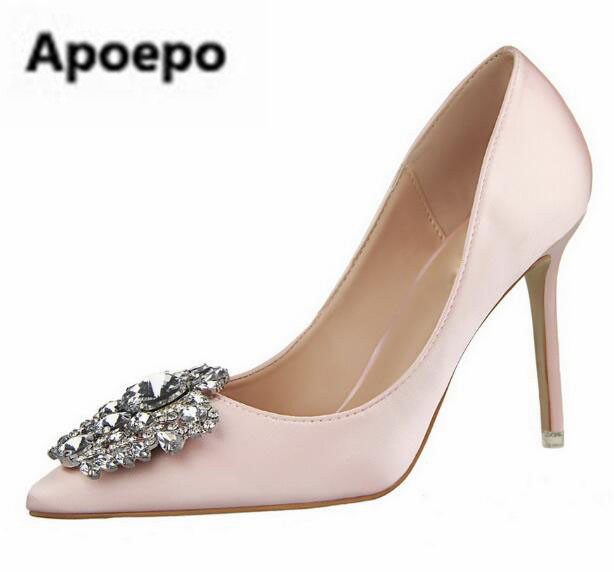 все цены на Apoepo brand design white Rhinestone wedding shoes 10 cm sexy high heels pumps shoes women pointed toe crystal stiletto heels