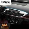 Centro Painel de Navegação Do Console Decalque Capa Guarnição Molding 3D Adesivo Reequipamento Interior Em Aço Inoxidável para Audi A6 C7 12-15
