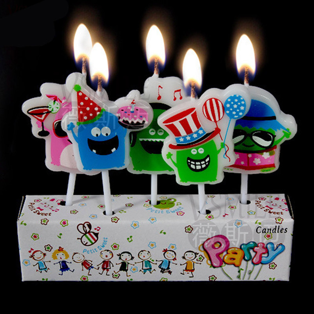 5pcs Colorful Halloween Cake Fruits Design Rounddesign Kids Girls Boys Happy Birthday Party Candle Decoration Supplies