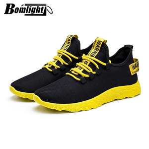 Image 2 - Bomlight 2019 Mesh Sneakers Men Casual Shoes Lace up Men Shoes Male Lightweight Sneakers Yellow Black Red Tenis Masculino Adulto