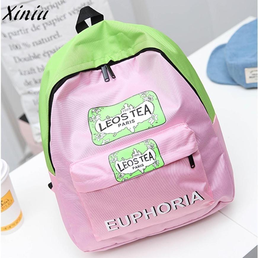 Women Backpack Teenages Back Pack Girl Boy Letters Print School Bags Fashion Shoulder Bag Mochila Escolar Feminina *7731