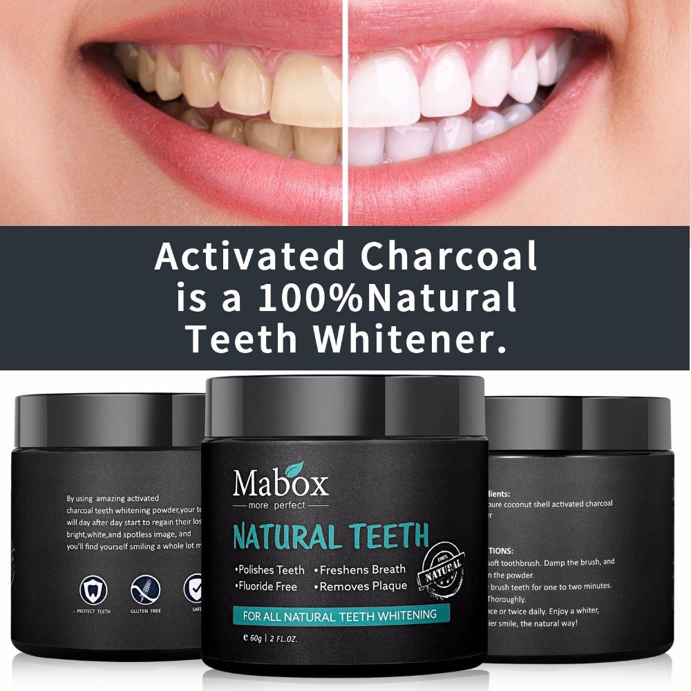 Dropshipping 60g Tooth Whitening Powder Activated Coconut Charcoal Natural Teeth Whitening Charcoal Powder Tartar Stain Removal