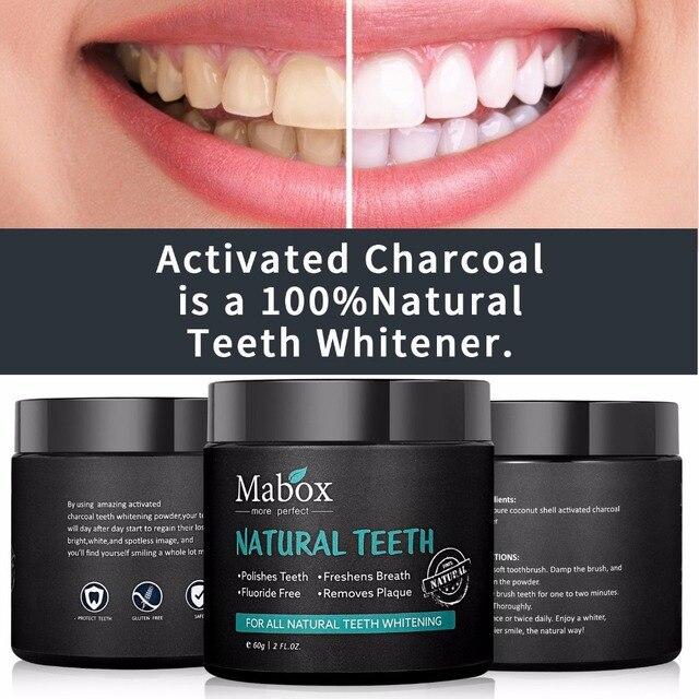 Dropshipping 60g polvo blanqueador de dientes activado carbón de coco dientes naturales blanqueamiento de carbón en polvo Tartar eliminación de manchas