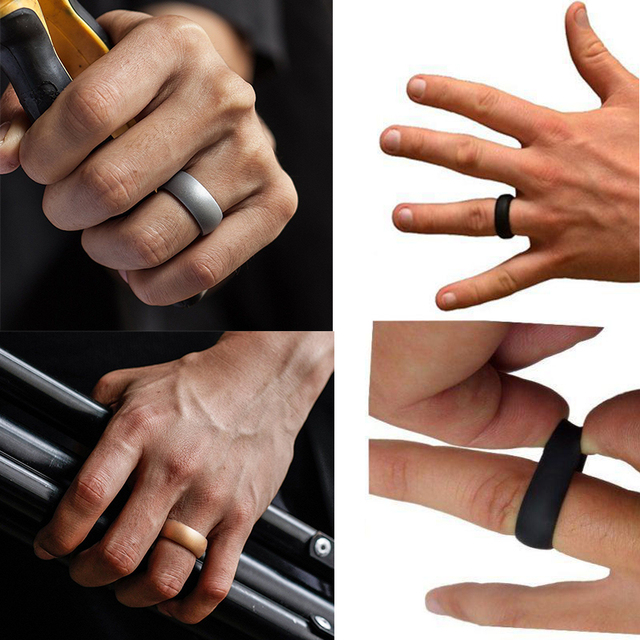 7 Colors Silicone Wedding Rings for Men – Size 7-13