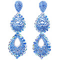 Luxry Crystal Rhinestones Llenos Pendientes de Gota Larga Pendiente de La Boda para Las Novias Damas de Honor Grande Grandes Pendientes para Las Mujeres
