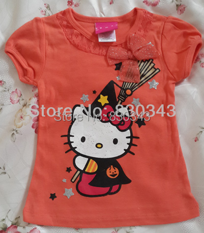2bf9f6f8 Promotions 2017 New Arrival Hello Kitty t shirt girls baby girl short  sleeve cotton Halloween tops cute t-shirts 5pcs/lot