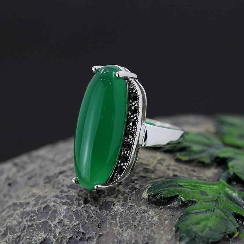 GQTORCH 925 เงินสเตอร์ลิงยุ้ยสีเขียวอาเกตสีแดงทับทิมขนาดใหญ่แหวน Vintage แหวนเครื่องประดับ