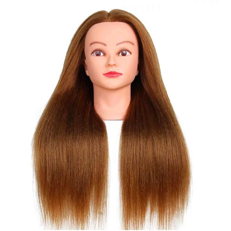 Tête de Mannequin de cheveux humains 60cm 100% tête de formation professionnelle pour Salon tête de Mannequin de haute qualité avec des cheveux