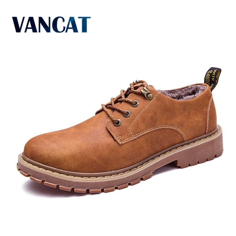 VANCAT Autumn Winter Warm Fur Male Genuine Leather Casual Shoes For Men Adult 2017 Brand Work High Quality Walking Footwear Man 2018 winter fur warm male high top shoes adult flock sneakers men designer shoes casual flat plush walking brand footwear