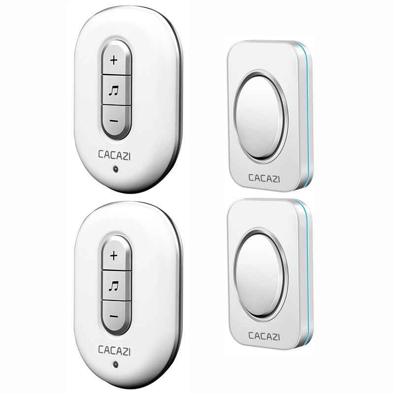 CACAZI AC 110-220V 2 transmitters+2 receivers with 48 Chimes Receiver Waterproof Wireless Doorbell Cordless Smart Door Bells forecum 5 5f smart wireless doorbell waterproof with receivers 36 chimes battery door bell button 100m range for home office