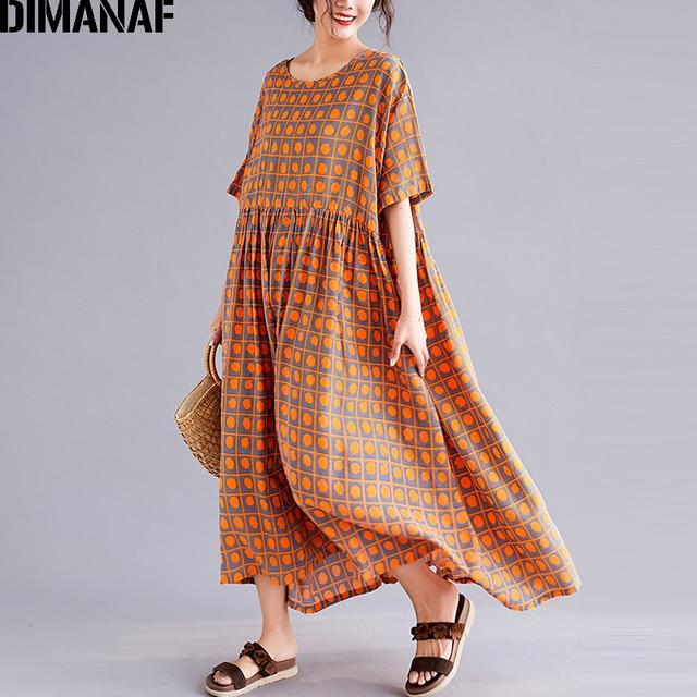 DIMANAF בתוספת גודל נשים קיץ חוף שמלה קיצית כותנה פשתן נקבה ליידי Vestidos Loose חג הדפסת שמלת גדול גודל 5XL 6XL