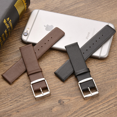 18mm 20mm Genuine Calf Leather Watch Band women men Smooth Soft Ultra-thin Watch Strap Belt Wristband black brown Relojes Hombre watchbands black brown leather watch strap band genuine soft buckle wrist replacement fits mens relojes hombre 2016 18 20mm 26mm