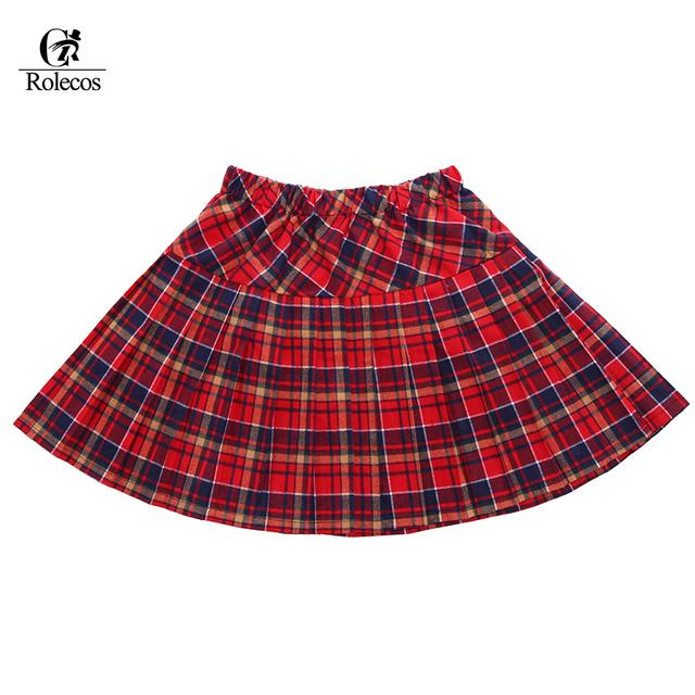 Venta caliente Más El Tamaño 4 Color Rojo Plisada Uniforme Escolar de Falda A Cuadros de Las Mujeres
