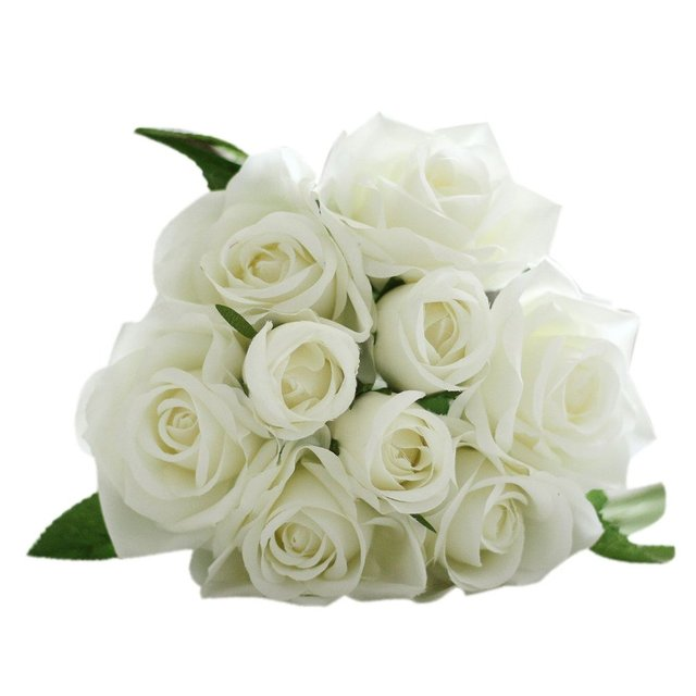 9pcs/lots White Cute Artificial Rose Flower Wedding Bridal Bouquet ...