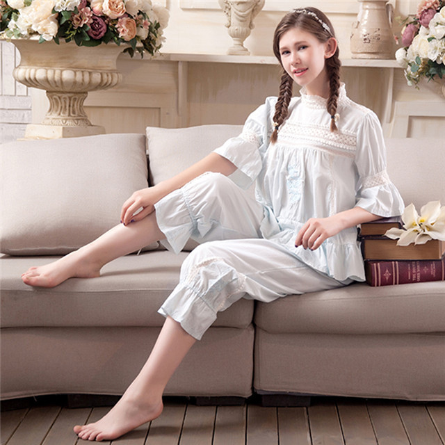 2017 Cotton Women Pajamas Ladies Sweat Lace Breathable Sleepwear Robes Korean Cute Embroidery Princess Two Pieces Nightgowns Set