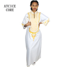African bazin embroidery long dress