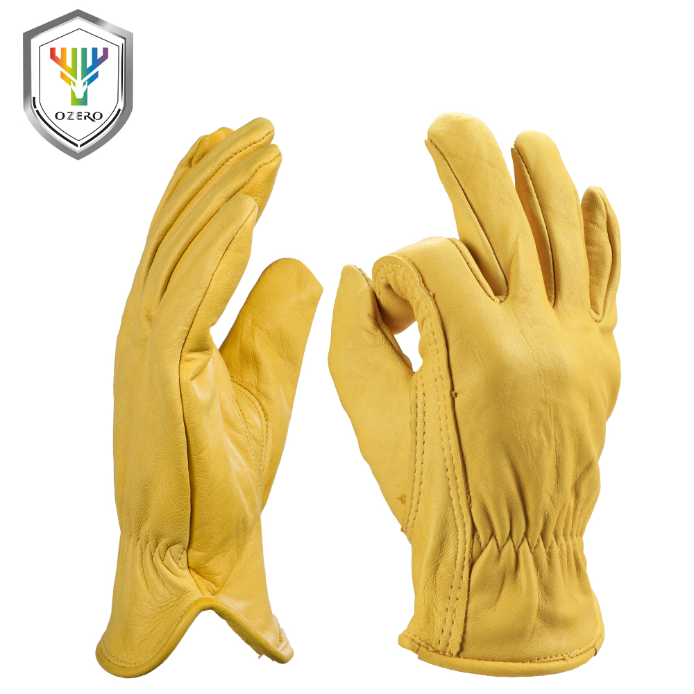 Leather gloves that work with iphone - Ozero Goatskin Leather Work Gloves For Men And Women General Purpose Utility Driver Rigger Safety And Gardening Gloves 0004
