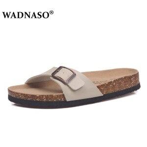 Image 5 - Wadnaso 플러스 크기 35 45 여름 코르크 슬리퍼 샌들 2019 새로운 남성 캐주얼 비치 더블 버클 인쇄 슬립 슬라이드 신발 플랫