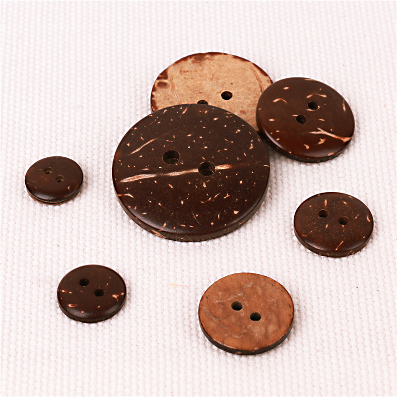 Vintage 70Pcs Coconut Shell Pattern Handmade 2 Holes Wood Buttons Sewing Crafts