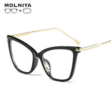 New Fashion Classic Prescription Glasses For Women Cat Eye Frame With Optical Lens Metal Ultralight Retro Eyeglasses(China)