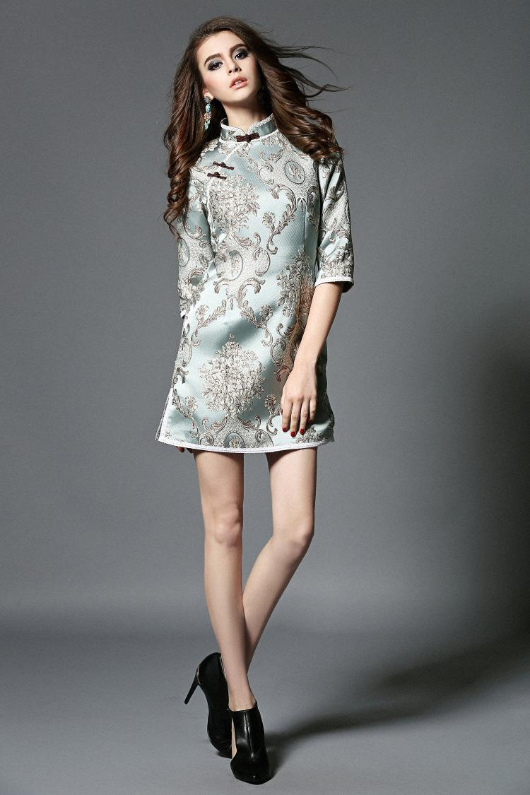 ce00caec0 Woman dress cheongsam lace half sleeve cheongsam fashion plus size lace  skirt plus size one piece dress twinset-in Cheongsams from Novelty &  Special Use on ...