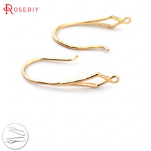 (33202)12PCS Height 18MM 24K Gold Color Plated Brass Rhombus Pattern Earring Hooks Jewelry Findings Earrings Accessories