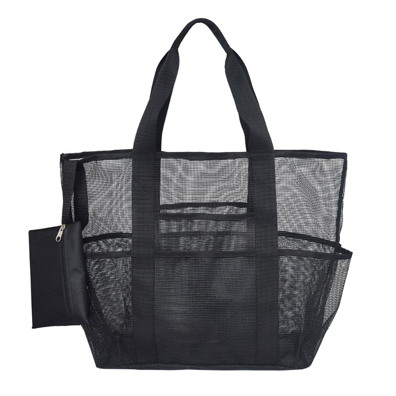Large Capacity Transparent Shopping Bag Lightweight Mesh Tote Bag Storage Bag for Family Beach Market Grocery and Picnic tote bag
