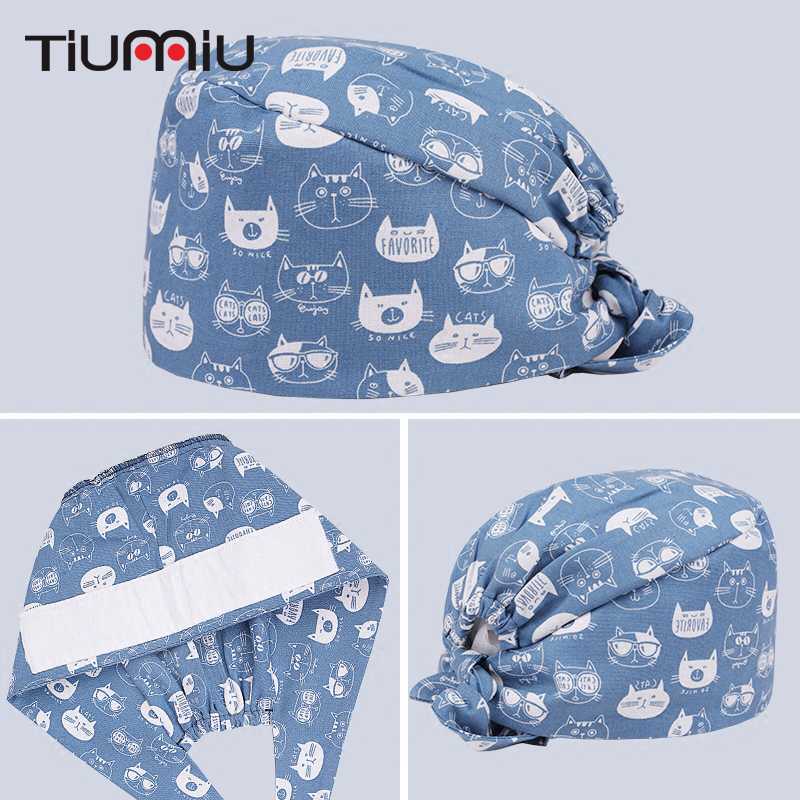 Cats Printed Cotton Medical Cap Clinic Surgical Hospital Doctor Hats Laboratory Pharmacy Beauty Salon Workwear Hat For Men Women