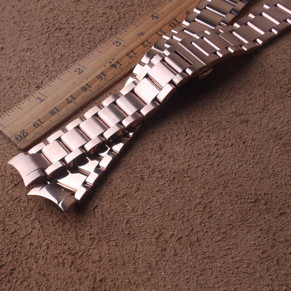 Nowy 20mm 22mm ze stali nierdzewnej Watchband dla Samsung Galaxy Watch 42mm 46mm sportowa opaska na rękę metalowe solidne linków zakrzywione kończy specjalne w Paski do zegarków od Zegarki na  Grupa 1
