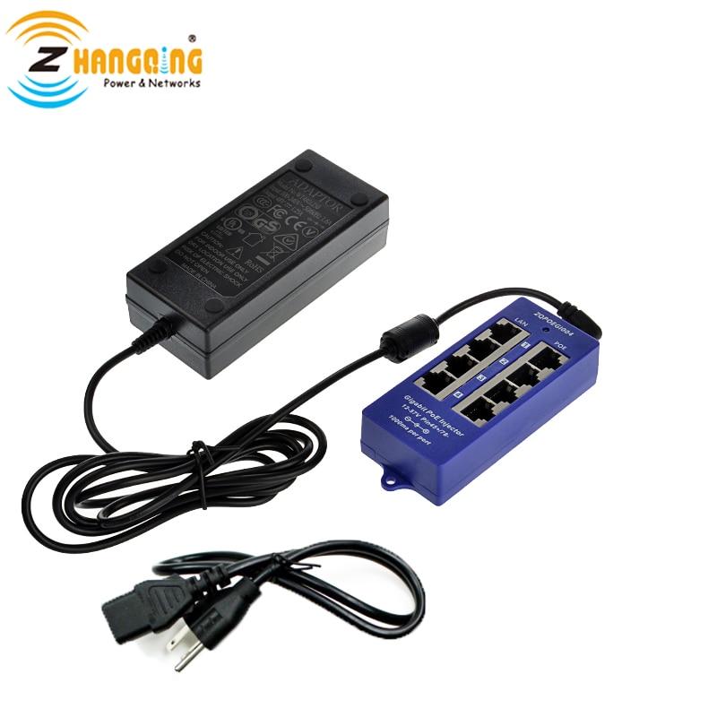 48 V Gigabit passif 4 ports PoE injecteur 802.3Af/at puissance sur Ethernet avec alimentation 48 V 60 W pour caméra PoE, téléphone IP