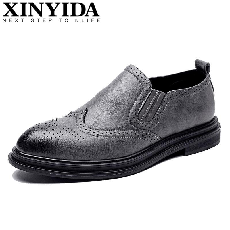 on Mocassins Slip 44 Vestido Respirável Couro wearing Britânicos Sapatos Moda Hard Da Dos brown gray 38 De Tamanho Negócios Casuais Homens Black qgd80wq