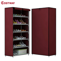 COSTWAY Non Woven 6 Tier Shoes Rack Stand Shelf Shoes Organizer Living Room Bedroom Storage Furniture