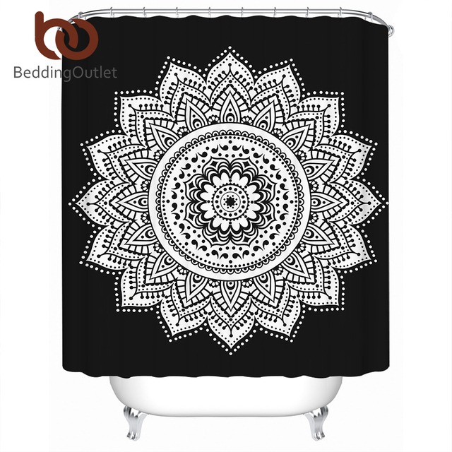 BeddingOutlet Mandala Shower Curtain Flower Polyester Waterproof Bohemian Bath Classical With Hooks Banheiro 180x180cm